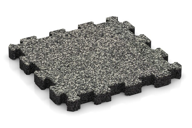 Nawierzchnia sportowa von WARCO im Farbdesign Klasyczny granit mit den Abmessungen 306 x 306 x 30 mm. Produktfoto von Artikel 4272 in der Aufsicht von schräg vorne.